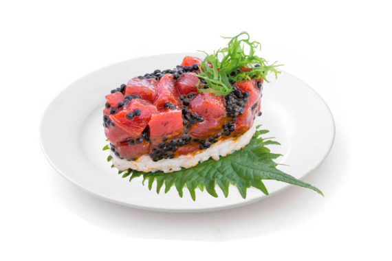 Tartar de atún rojo picante y Mujjól Shikrán